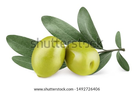 Delicious green olives with leaves, isolated on white background #1492726406