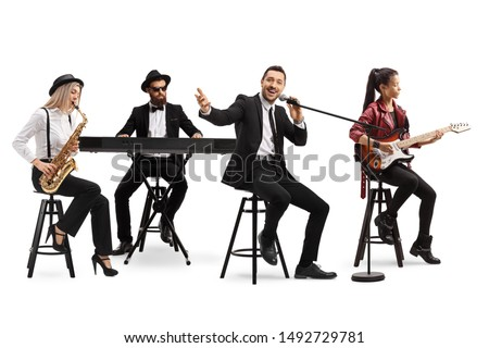 Music band with a guitarist, sax and keyboard and a singer isolated on white background #1492729781