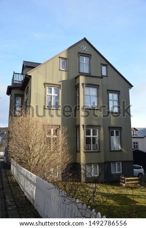 Reykjavik, Iceland – March 16, 2019: Icelandic Architecture, Cityscape of Reykjavik in Iceland, Northern Europe #1492786556