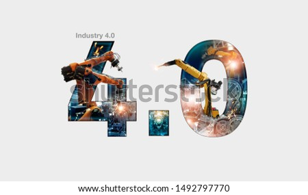 Industry 4.0 concept, iot, automation robot arms machine and monitoring system software, Welding robotics and digital manufacturing operation and industrial technology.  #1492797770