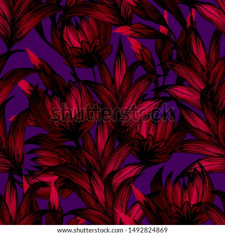 flowers and leaves drawn with red and pink colors on a dark violet background #1492824869