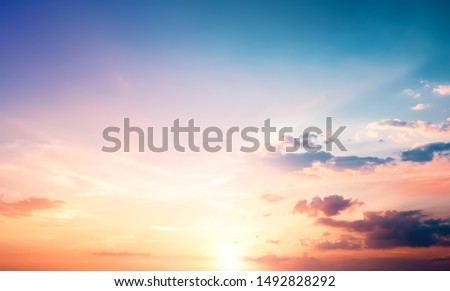 Natural background concept: Sunset blue sky and clouds backgrounds #1492828292