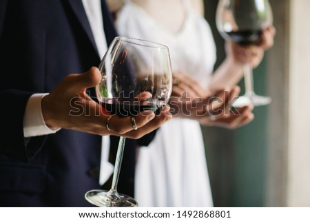 wedding couple in love with two glasses of wine #1492868801