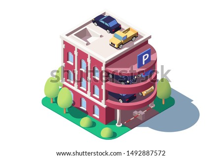3d isometric cars using multi level parking. Concept isolated vehicle standing on public building, service for security personal safety engine. Low poly. illustration. #1492887572
