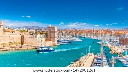 Saint Jean Castle and Cathedral de la Major and the Vieux port in Marseille, France #1492901261