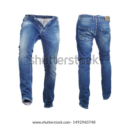 Blank jeans pants frontside and backside isolated on a white background #1492960748