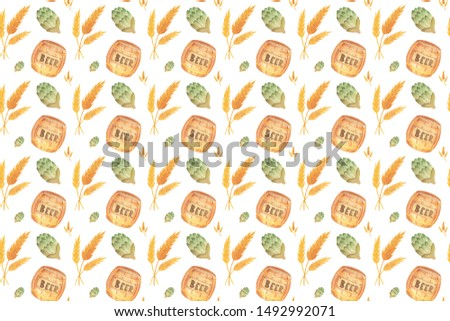 Seamless pattern with spikelet, beer, barrel, hops for oktoberfest. Hand drawn watercolour painting on white background clip art graphic elements for creative design and printable decor.