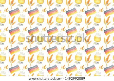 Seamless pattern with beer, flag, spikelet, glass for oktoberfest. Hand drawn watercolour painting on white background clip art graphic elements for creative design and printable decor.