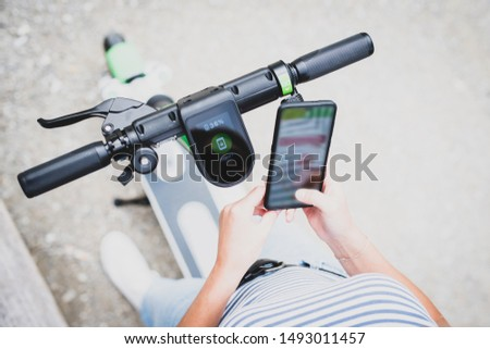 Electro-mobility, unlock an e-scooter with your mobile phone #1493011457