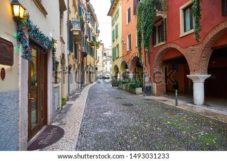 VERONA, ITALY - CIRCA MAY, 2019: a view of a street located in Verona, Italy. #1493031233