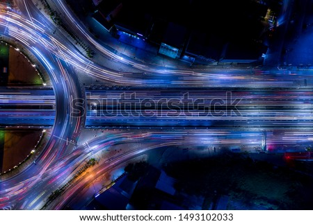 Electron of Traffic circle light tail that show it is a life build of infrastructure road and economic system transportation and communication Royalty-Free Stock Photo #1493102033