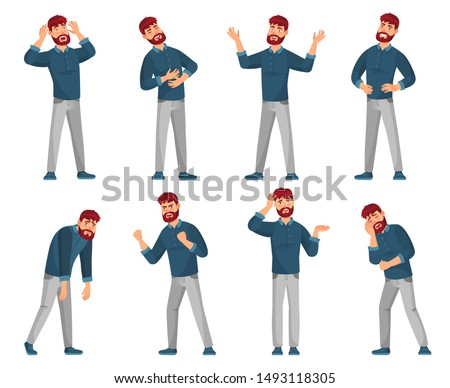 Cartoon man character. Thinking male, smiling happy men and sad man in casual clothes. Student or businessman character or handsome geek guy. Isolated vector illustration icons set Royalty-Free Stock Photo #1493118305