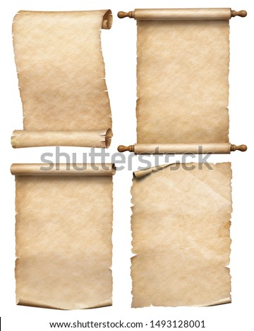 paper or old parchment scrolls set isolated on white #1493128001