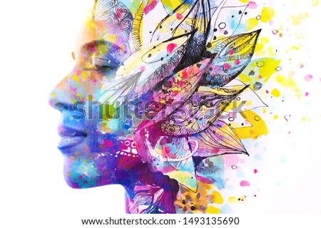 Paintography. Double exposure of woman's profile dissolving into bright colorful leaf drawings with hidden message about life #1493135690