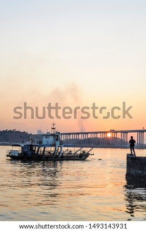 ferry terminal scene during the sunset  #1493143931