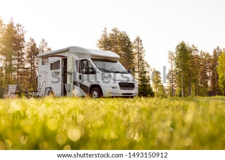Family vacation travel RV, holiday trip in motorhome, Caravan car Vacation. #1493150912