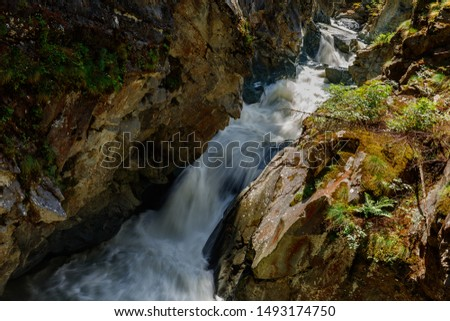 Fast mountain river in a deep canyon. Swiss Alps. #1493174750