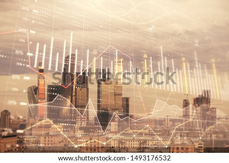 Double exposure of financial graph on downtown veiw background. Concept of stock market research and analysis #1493176532