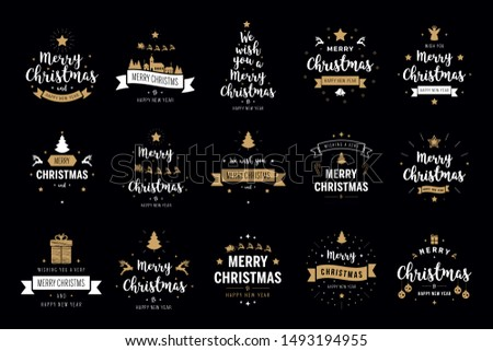 Merry Christmas. Happy New Year, typography lettering badge emblems quotes set collection. Vector logo design for postcard, invitation, greeting card,  poster #1493194955
