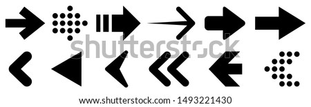 Set arrow icon. Collection different arrows sign. Black vector arrows – vector Royalty-Free Stock Photo #1493221430