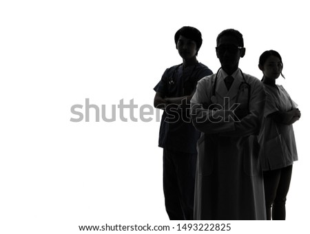 Silhouette of Medical doctor and nurses. Royalty-Free Stock Photo #1493222825