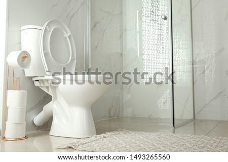 Toilet bowl near shower stall in modern bathroom interior #1493265560