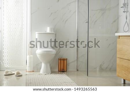 Toilet bowl near shower stall in modern bathroom interior #1493265563