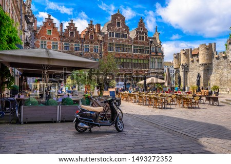 Old square with tables of cafe in Ghent (Gent), Belgium. Architecture and landmark of Ghent. Cozy cityscape of Ghent. #1493272352