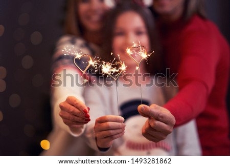 Beautiful family celebrating Christmas and holding sparklers #1493281862