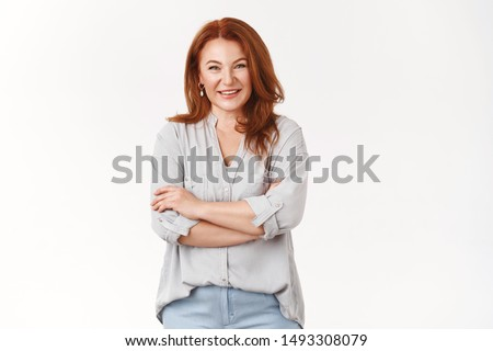 Caring lovely happy middle-aged redhead woman cross arms chest smiling joyfully talking lively discuss child grades school teacher grinning laughing have interesting conversation, white background #1493308079
