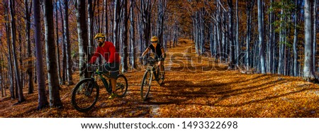 Cycling, mountain biker couple on cycle trail in autumn forest. Mountain biking in autumn landscape forest. Man and woman cycling MTB flow uphill trail. #1493322698