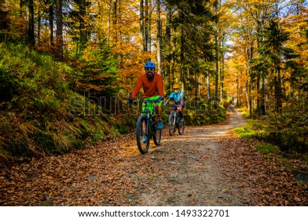 Cycling, mountain biker couple on cycle trail in autumn forest. Mountain biking in autumn landscape forest. Man and woman cycling MTB flow uphill trail. #1493322701