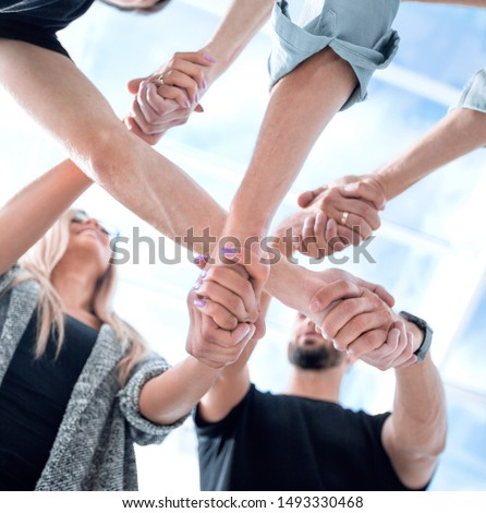 United hands on white background Royalty-Free Stock Photo #1493330468