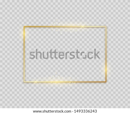 Golden square shape. Shiny luxury border graphic template for banner poster flyer.  glowing magic frame on light background #1493336243