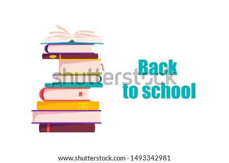 Cute School books. School activities. Back to School isolated objects on white background. Great illustration for a school books and more. .