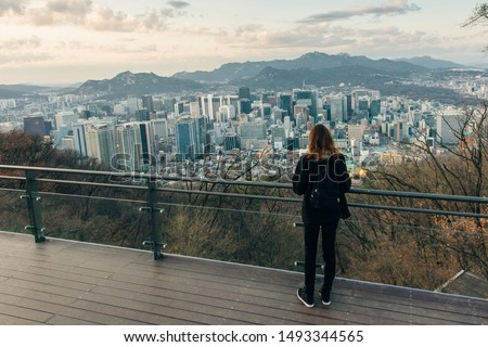 downtown city skyline, Namsan Park in twilight sky in morning. The best viewpoint and trekking from inwangsan mountain in Seoul city #1493344565
