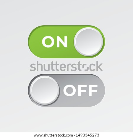 On and Off Toggle Switch Buttons with Lettering Modern Devices User Interface Mockup or Template - Green and Grey on White Background - Vector Gradient Graphic Design Royalty-Free Stock Photo #1493345273