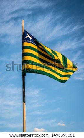 Brasilia, DF, Brazil - Ago, 31, 2019: A beautiful view of Brazil State flag (Bandeira do Piaui) #1493399051