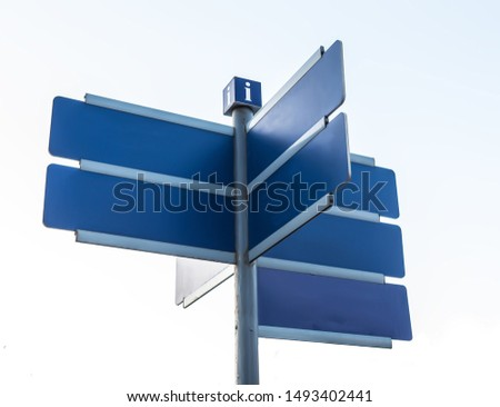 Information signs directed in different directions with place for text isolated on white background #1493402441
