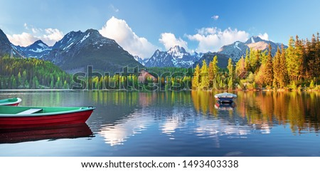 High Tatras mountains national park and Strbske pleso  (Strbske lake) beautiful mountain lake in Slovakia #1493403338