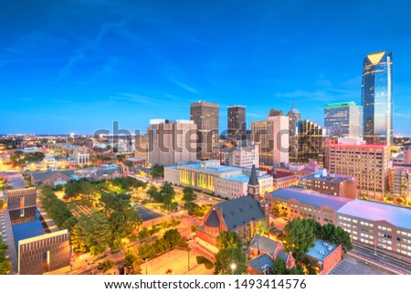 Downtown skyline of Oklahoma City, Oklahoma, USA at twilight.