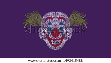 Joker mask illustration abstract design background