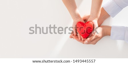 An adult, mother and child hold a red heart in their hands. Concept for charity, health insurance, love, international cardiology day. #1493445557