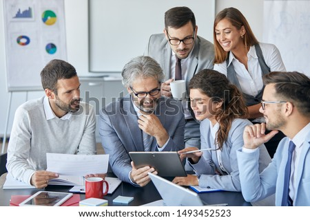 Successful businesspeople having a meeting in an office. Business concept Royalty-Free Stock Photo #1493452523