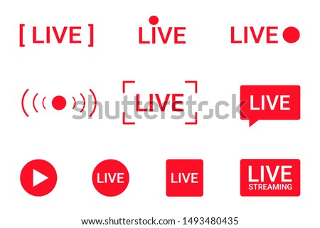 Set of live streaming icons. Red symbols and buttons of live streaming, broadcasting, online stream. Lower third template for tv, shows, movies and live performances. Vector #1493480435