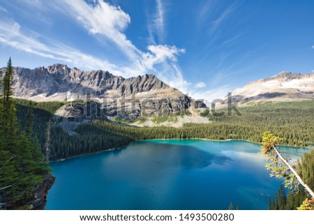 Beautiful Lake O'Hara against Mount Shaffer on a beautiful summer morning. #1493500280
