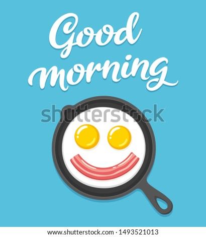 Good morning text lettering and breakfast illustration with smiling fried eggs and bacon on skillet. Cartoon clip art drawing.