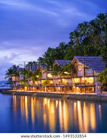 Sunset, Lights and Cottages at Samal Island, Davao City #1493532854
