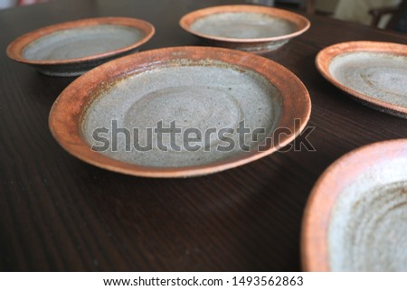 A round dish made of electric potter's wheel. I made five round dishes in the image of next year's Tokyo Olympics. #1493562863