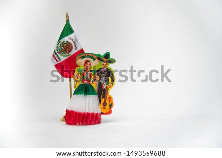 national symbols, shield and colors of the flag of Mexico, green white and red, emblems of three Mexican colors, white background  #1493569688